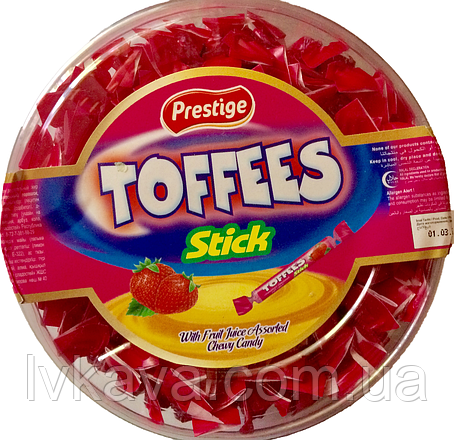 Жевательные конфеты Toffees Sticks клубника Prestige   , 800 гр, фото 2