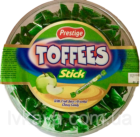 Жевательные конфеты Toffees Sticks яблоко Prestige   , 800 гр, фото 2