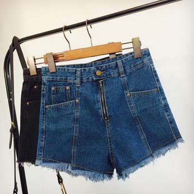 Джинсовые шорты с высокой талией на молнии синие