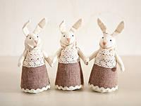 Мягкая игрушка авторской ручной работы заяц набор из 3 штук, фото 1
