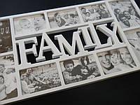 Мультирамка FAMILY на 10 фотографий белая
