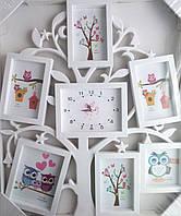 Мультирамка Дерево с ЧАСАМИ  на 6 фотографий белая