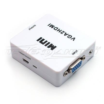 Конвертер VGA to HDMI + Audio, mini USB питание, фото 2