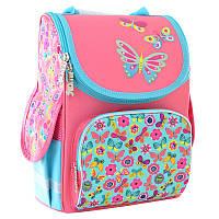 Ранец (рюкзак) - каркасный школьныйдля девочки розовый - Бабочки, PG-11 Butterfly pink, 554454