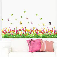 Наклейка виниловая Изгородь тюльпаны 3D декор