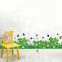 Наклейка виниловая Изгородь (клевер с бабочками) 3D декор