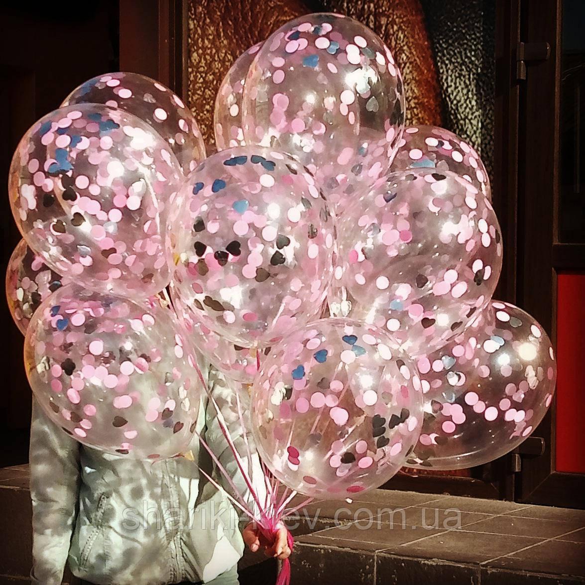 Шары с конфетти 35 см Розовый с серебром гелиевые