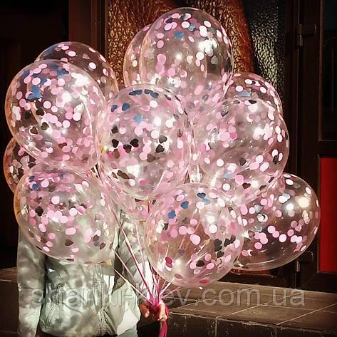 Шары с конфетти 35 см Розовый с серебром гелиевые, фото 2