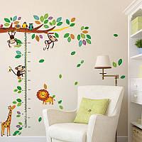 Наклейка виниловая линейка ростомер Дерево со зверьками 3D декор