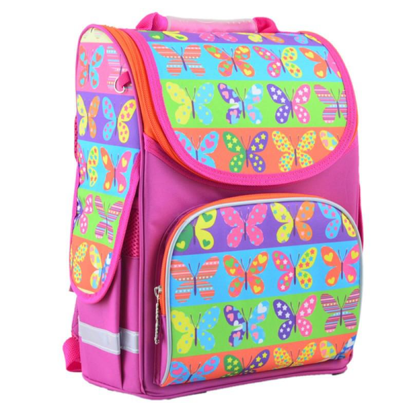 179160d37a06 Ранец (рюкзак) - каркасный школьный для девочки розовый - Бабочки, PG-11