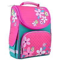 Ранець (рюкзак) - каркасный школьныйдля девочки розовый - Цветы, PG-11 Flowers pink, 554445
