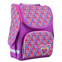 Ранец (рюкзак) - каркасный школьныйдля девочки фиолетовый - Сердечки, PG-11 Hearts pink, 554440