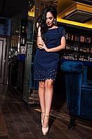 Однотонное лаконичное платье цвета джинс, фото 1