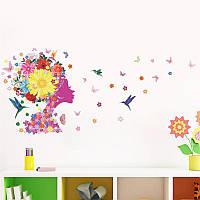 Наклейка виниловая Цветочная фея с птицами 3D декор