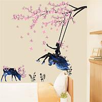 Наклейка виниловая Фея на качели с оленем 3D декор