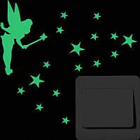 Наклейка виниловая на выключатель Фея-бабочка 3D декор