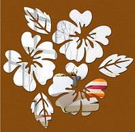 Наклейка Цветы зеркальные (серебро)