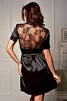 Соблазнительный атласный халат с полупрозрачной кружевной спинкой Черный, фото 1