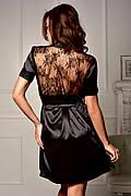 Соблазнительный атласный халат с полупрозрачной кружевной спинкой Черный