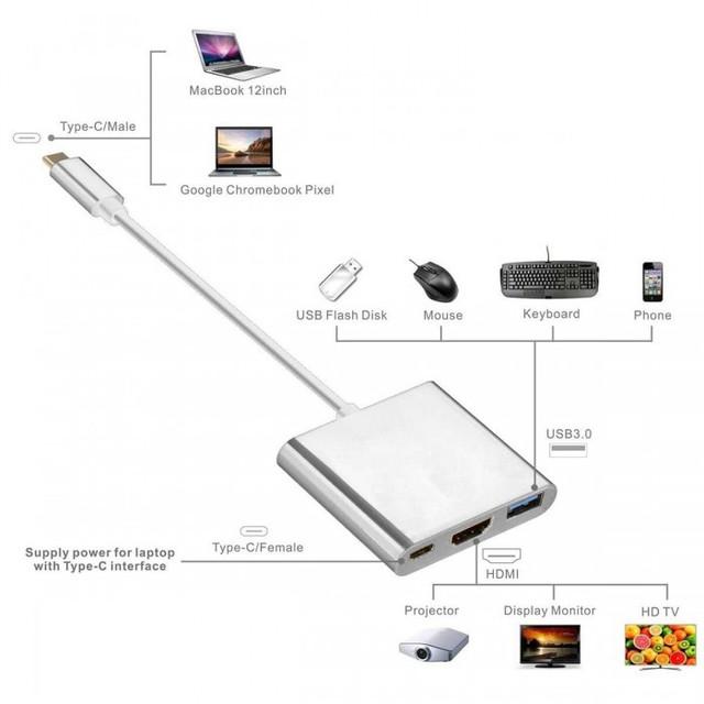 Конвертер Type-C to HDMI+USB 3.0+Type-C Female
