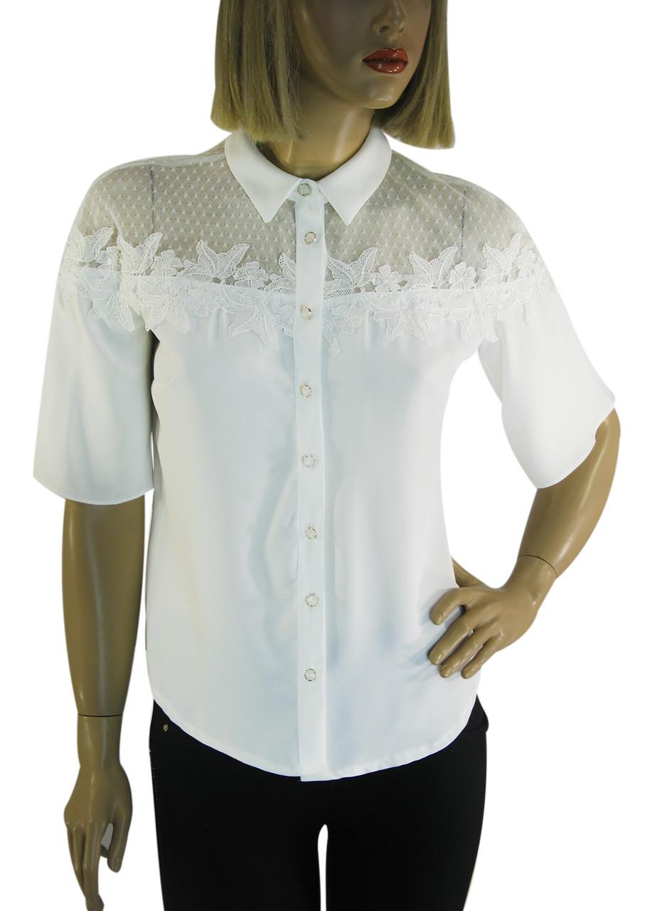 Нарядна біла блузка з коротким рукавом Miss Poiss