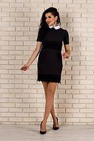 Платье женское короткое из костюмной ткани с кружевом P9441, фото 1