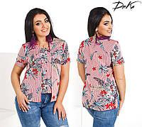 Женская блуза в полоску с цветами 2 цвета, фото 1