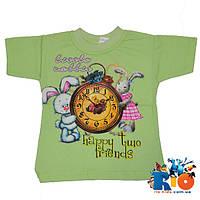 """Детская футболка """"Часы"""", трикотажная для девочек 1-3 года (6 ед в уп)"""