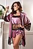 Комплект атласная пижама шорты с майкой и халат Фрез. Размеры от XS до XL.