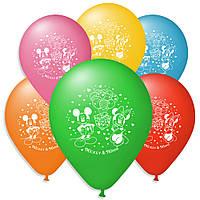 """Повітряні кульки пастель шовкографія Міккі і Міні маус 10"""" (25 см)"""