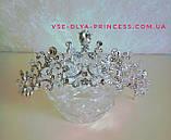 Свадебная корона, диадема, тиара под серебро для невесты,  высота 5,5 см., фото 3