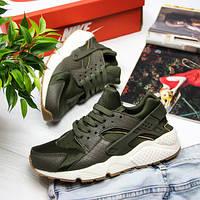 Женские кроссовки Nike AIR Huarache (Найк Аир Хуарачи) Хаки (реплика люкс  класса 1 6185a497f2e
