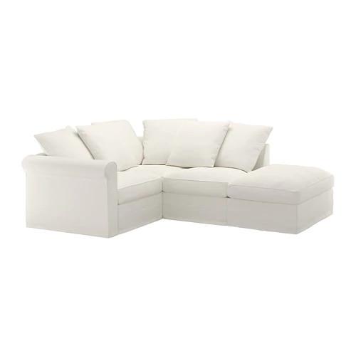 Трехместный угловой диван с открытым концом IKEA GRÖNLID Inseros белый 492.546.65