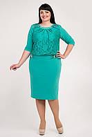 Нарядное женское платье украшено гипюром мятного цвета, фото 1