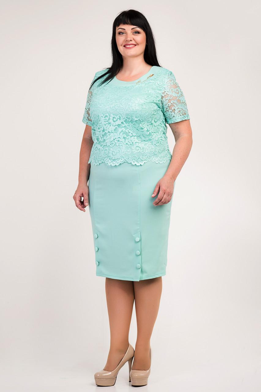 dbbf9bf3f7d3ff5 Элегантное женское платье больших размеров с гипюром, мятное ...