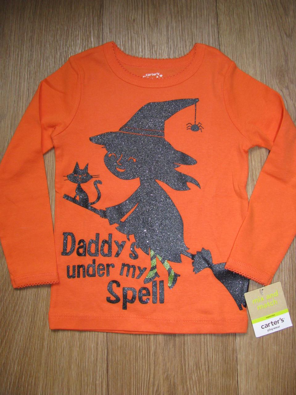 Оранжевый реглан с перламутровой ведьмочкой Daddy's under my Spell (Размер 2Т) Carter's (США)