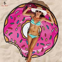 Круглый коврик Пончик, Donut пляжный(подстилка, покрывало, полотенце, парео), 150 см