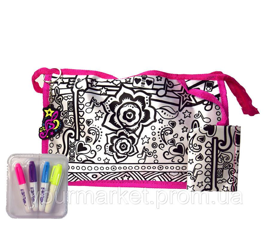 Сумка-раскраска JX20257  для разукрашивания 4 фломастера,р-р сумки 26*