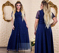 Платье женское шелковое длинное с кружевом P9469, фото 1