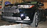 Декоративно-защитная сетка радиатора Toyota Highlander 2013-  фальшрадиаторная решетка, бампер, фото 5