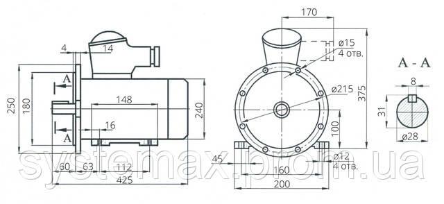 Взрывозащищенный электродвигатель АИМ 100S2 (АИММ 100S2)