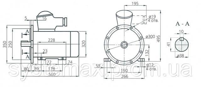 Взрывозащищенный электродвигатель АИМ 132М4 (АИММ 132М4)