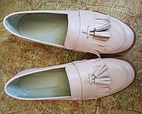 Стильные женские классические туфли в стиле Loafer Santoni пудра кожа