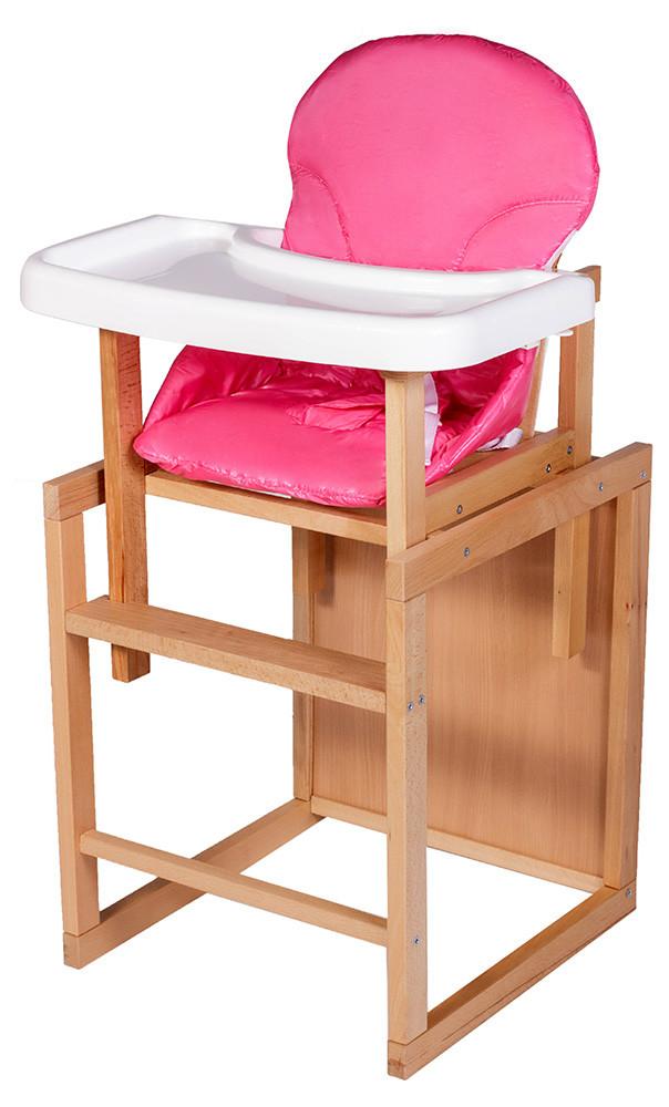 Стульчик- трансформер Наталка светлый пластиковая столешница  розовый