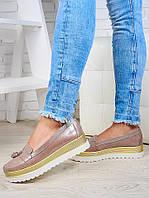 Туфли лоферы на высокой подошве сатин 6493-28