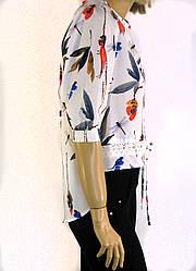 Блузка -фрак креп шифон удлиненный зад с  принтом Stefano