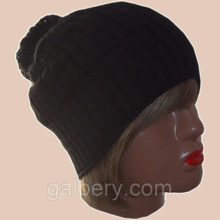 Женская вязаная шапка-носок (утепленный вариант). Помпон