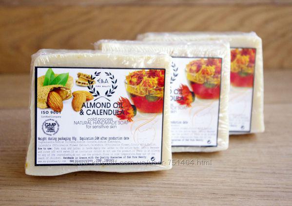 Натуральное оливковое мыло для чувствительной кожи Миндаль&Календула (E&A Pure Beauty), 95g., Греция