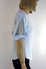 Блузка нарядна голуба з коротким рукавом Miss Poiss, фото 2