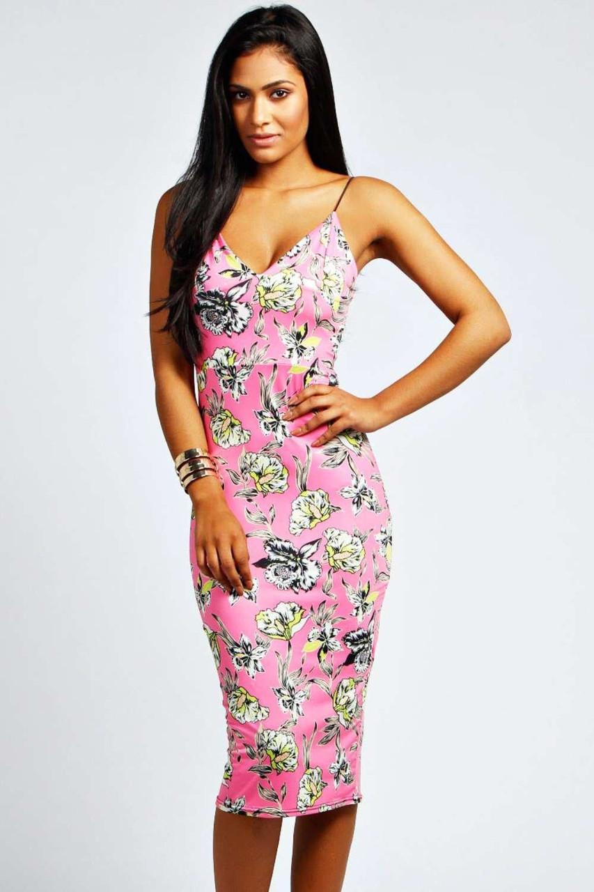 Новое облегающее цветочное миди платье Boohoo